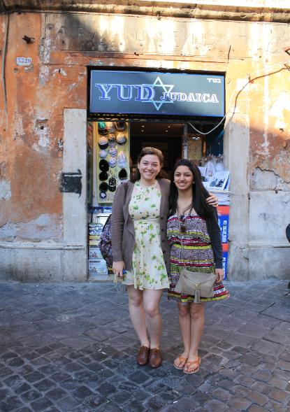 Students (from left) Laura Traflet and Sahar Bhatti (both Fordham) in front of a Jewish shop.jpg